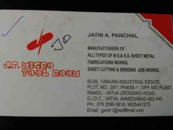 J P Micro Tool Room  We are manufacturers of all types of MS and SS sheet metal Fabricarion works, sheet cutting & bending job works... - by J P Micro Tool Room, Ahmedabad