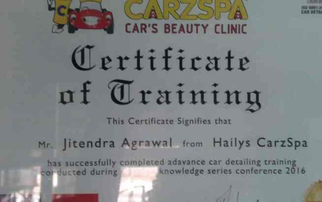 we are certified in car detailing services from international Detailing Association. Vadodara's no car detailing services center in Akota  - by carzspa, Vadodara