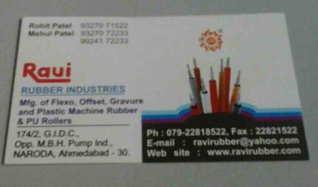 Rubber Roller for Offset Machine  - by RAVIRUBBERINDUSTRIES, Ahmedabad