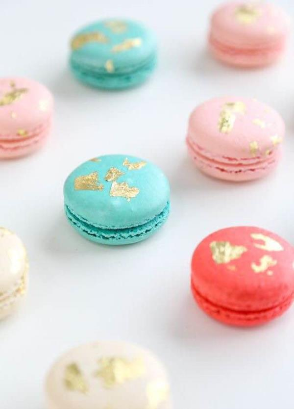 The best way to enjoy your high tea this summer is by accompanying it with macaroons that are garnished with our 24k edible gold flakes. Show these off to all your friends and let them admire it's beauty! #goldflakes  - by Shree Jagannathji Sterling Products, New Delhi