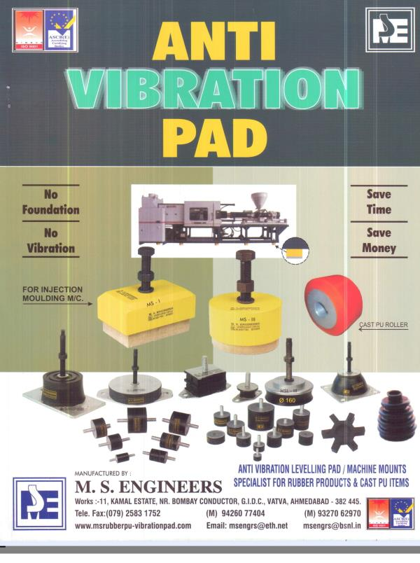 ANTI VIBRATION / LEVELLING PADS   /   MACHINE MOUNTS - by M. S. ENGINEERS, Ahmedabad