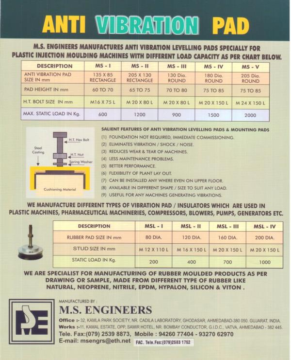 MACHINE MOUNTS / RUBBER MOULDED PARTS - by M. S. ENGINEERS, Ahmedabad