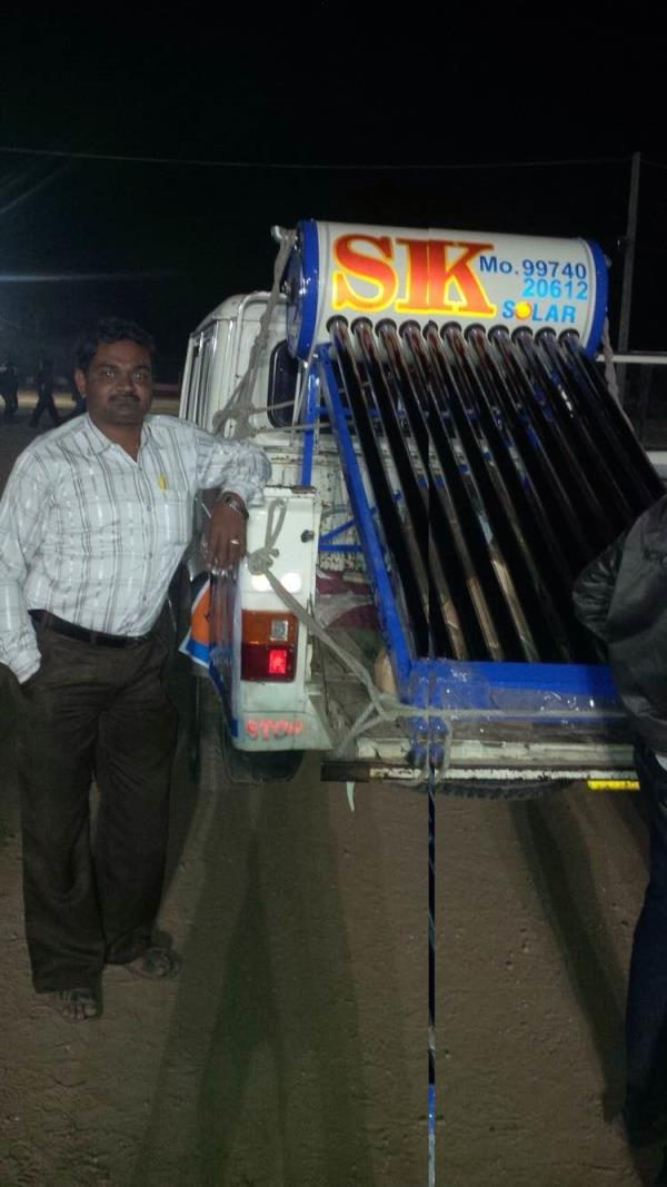 Shree khodiyar solar Pvt ltd is Manufacturing of Solar Water Heater in Rajkot Gujarat. In photographs our team is in market for advertised our product.   Contact person - Mr. Yogesh  Contact number - 9974020612  - by Sshree Khodiyar Solar Pvt Ltd, Rajkot
