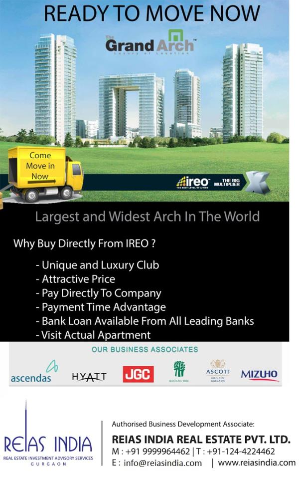 Ireo Grand Arch Offers Ready to Move 2/3/4 Bhk Apartments Near Golf Course Road. with Flexi Payment Plan Visit- http://goo.gl/iepOUb  - by Reias India Real Estate Pvt. Ltd., Gurgaon