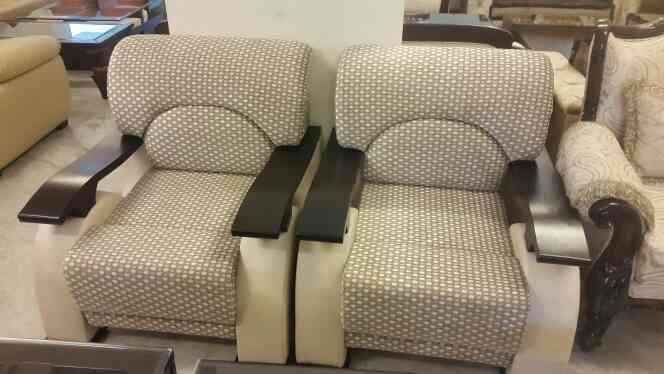 designer sofa with teak wood handle mansarovar jaipur - by Shagun Decor, Jaipur