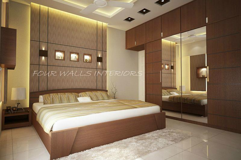 The most luxurious bedrooms have as little dressing equipment as possible.  We Are Reachable at www.fourwallsinteriors.com #interiordesigns #bedrooms - by Four Walls Interiors, Coimbatore