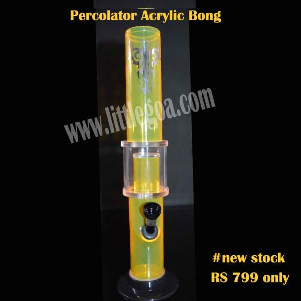 New in stock. Buy an acrylic percolator bong only at Rs 799 from littlegoa.  http://www.littlegoa.com/tribal-sticker-yellow-percolator-acrylic-bong-12-inches - by Little Goa Call Us @8860974273,011-23647849, Bangalore