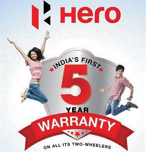 All Hero Motor Cycles comes with 5 year or 70, 000 Kms.Warranty whichever is earlier*  All Hero Scooters comes with 5 year or 50, 000 Kms. Warranty whichever is earlier*  All Hero Products comes with 6 Free Service*  - by SAI HERO Call 08039513430, Bangalore