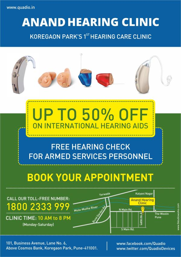 Free hearing checks and hearing aids discounted up to 50% for all armed services personnel. For more details, please visit the website. - by Anand Hearing Clinic - Koregaon Park,Pune, Pune