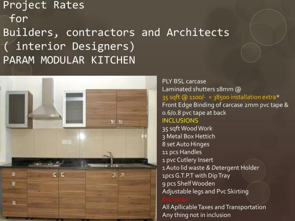 best rates for buiders projects architects and interior designers - by Param Modular Kitchen, Vadodara