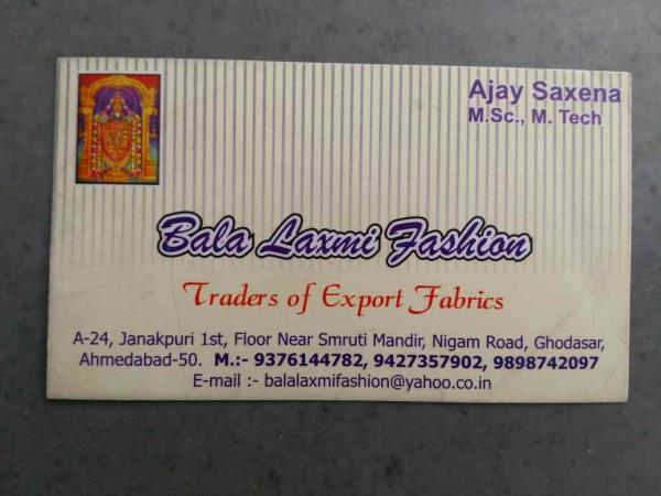 We are open to invites any agent for export only. - by Bala Laxmi Fashion, Ahmedabad