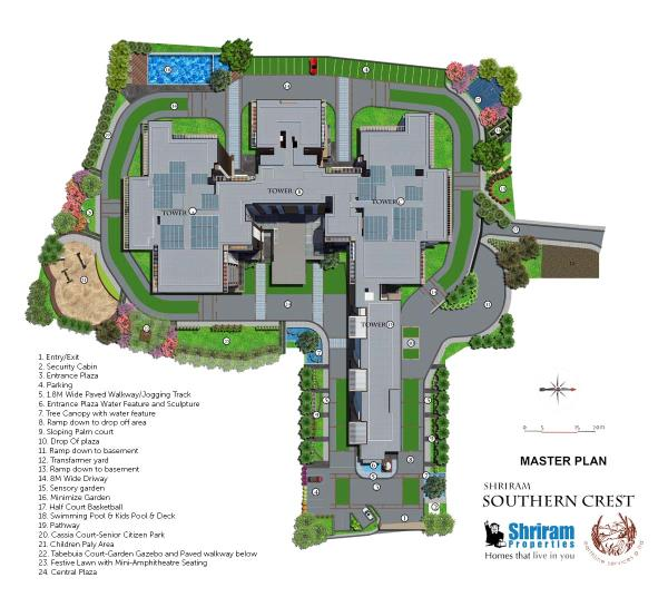 Luxury Apartment For Sales In JP Nagar Bangalore  SHRIRAM SOUTHERN CREST is a BBMP approved 413 flats G+18 residential apartment. It is located in JP Nagar and is spread over 3.40 acres. Developed by Shriram Properties Pvt. Ltd.. It has 2 & - by Shriram Southern Crest Apartments, Bangalore