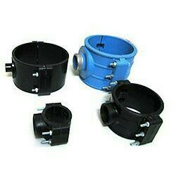 PP Pipe Saddles Manufacturers and Supplier in Rajkot-Gujarat with Balck Color use in Agriculture Fitting  - by Khedut Enterprise, Rajkot