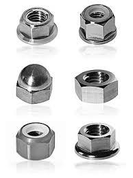 """Nuts     We offer wide range Nuts such as hexagon nuts, hexagon coupling nuts, hexagon thin nuts, square nuts, hexagon castle nuts, self locking nut and hexagon domed cap nuts. Available in M12 to M150 & 1/2"""" to 6"""", our range is widel - by Surya Metal Industries, Anand"""
