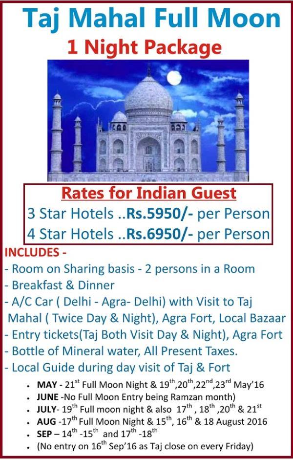 Taj Mahal on Full Moon Night. Taj Full moon Entry Ticket . Taj Full Moon Package. Taj visit at Night . Taj Mahal Package. - by TSP Holidays, South Delhi