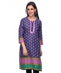 Printed Kurti in Chennai  Being fashion conscious firm, we bring forth modern yet ethnic look with this Ladies Printed Kurti (Purple Printed Kurti) from Diti. The embroidered pattern near the neckline gives a classic touch and the comfortab - by Cross Creek, Chennai