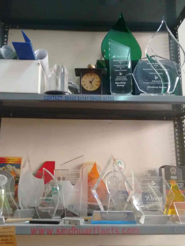 best acrylic trophy manufacturer at Srinagar - by Sindhu Art Facts, Bangalore