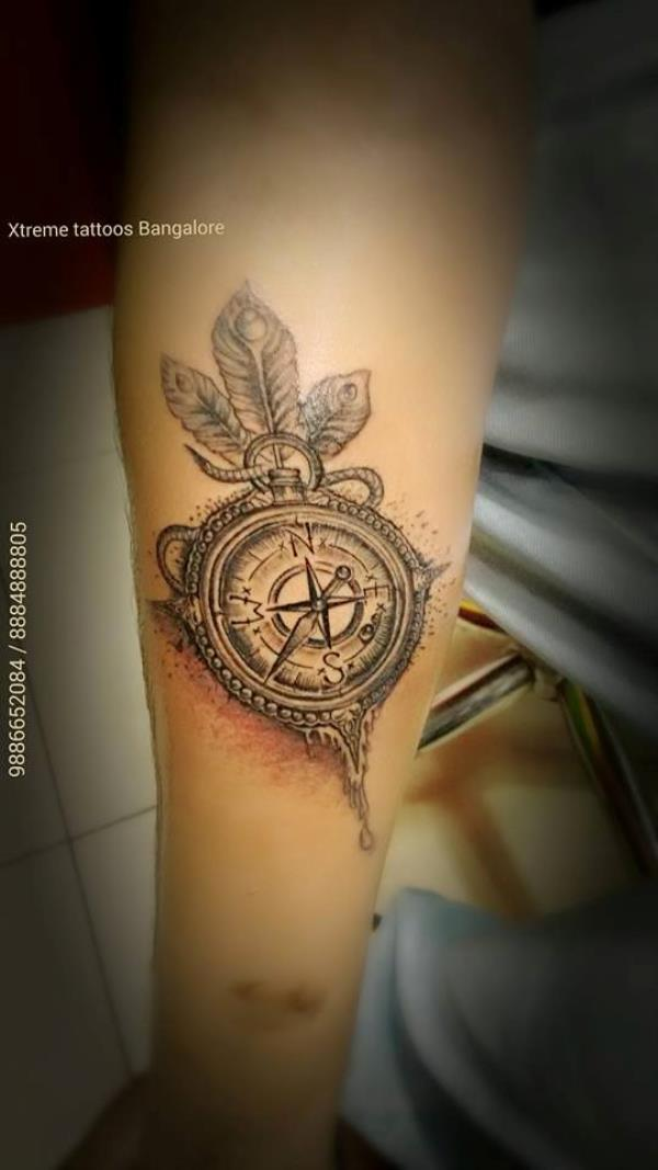 best compass tattoos design in bangalore - by Xtreme Tattoos Studio, Bangalore
