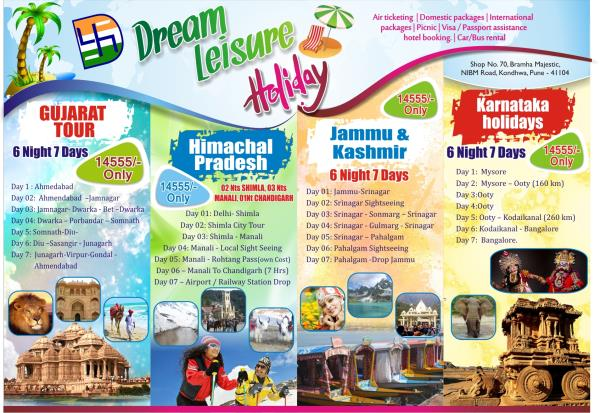 We are into Domestic Holiday packages, School Picnic, Corporate Picnic etc. - by Dream Leisure Holidays, Pune