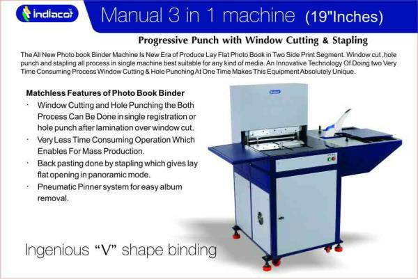 MATCHLESS FEATURE OF PHOTO BOOK BINDER 1.Window cutting and whole punching the both process can be done in single registration or hole punch after lamination over window cut. 2.very less time consuming operation which enable for mass produc - by Indiacot, Rajkot