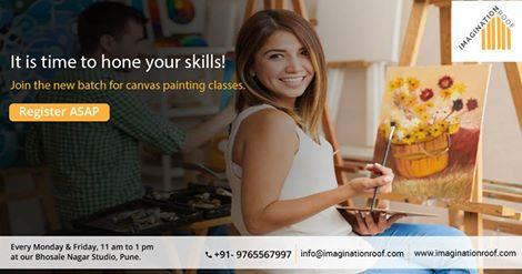 All you artists out there, it's time to hone your skills!  Join the new batch for Canvas painting classes every Monday and Friday, from 11 AM to 1 PM at our Bhosale Nagar Studio, Pune. - by Imagination Roof, Pune