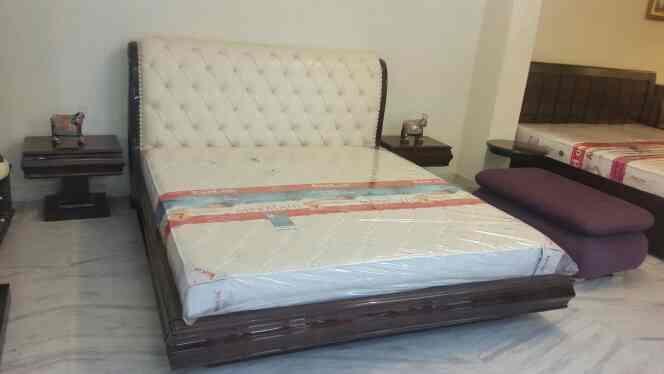 teak wood bed Upholstery bed luxurious bed at shagun Decor mansarovar Jaipur - by Shagun Decor, Jaipur