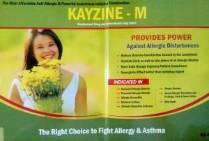 "Introducing .....""KayZine - M"" ...... An Anti-allergic Medicine from KayBiotech. KayZine - M is Combination of ""Montelukast Sodium"" and ""Levocetrizine"".   What is Motelukast ?  Montelukast belong to a class of medicines called leukotriene r - by MAHADEV MEDICOS....healing medicine, Delhi"