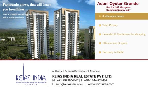 Adani Oyster Grander Offers Luxury 3/4/5 Bhk Apartments located in Sector-102 off Dwarka Expressway, Gurgaon. Oyster Grande apartments are 3 side open Designed for privacy.  Book Apartments with Attractive PLP Plan with Attractive Price Poi - by Reias India Real Estate Pvt. Ltd., Gurgaon