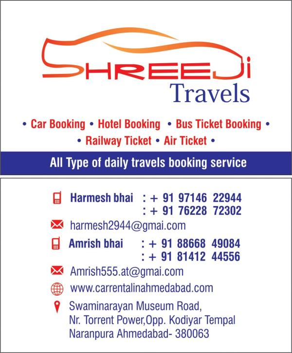 Established in the year 2005 by Shree Harmeshpatel, -Shreeji Travels is one of the trusted names in the hospitality and transportation. Shreeji Travels is recognized by the Department of Tourism, Government of India. We cater local, outstat - by Shreeji Travels, Ahmedabad
