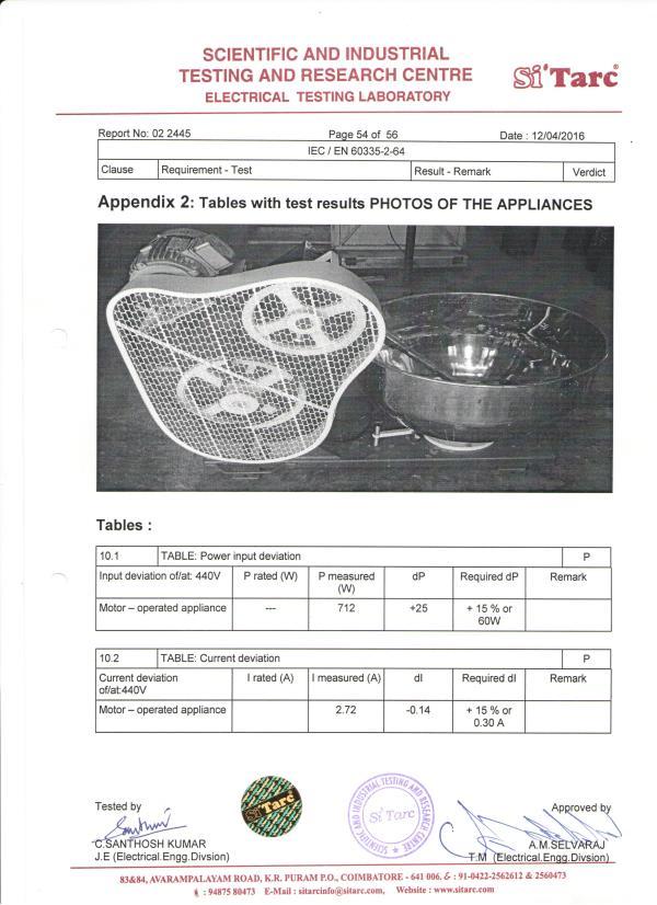 Dough Kneader Certificate - by Sahithengineering                                                  9994368446, Coimbatore
