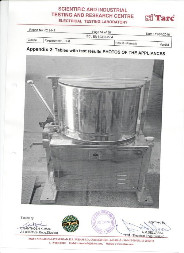 Commercial Tilting Grinder Certificate - by Sahithengineering                                                  9994368446, Coimbatore
