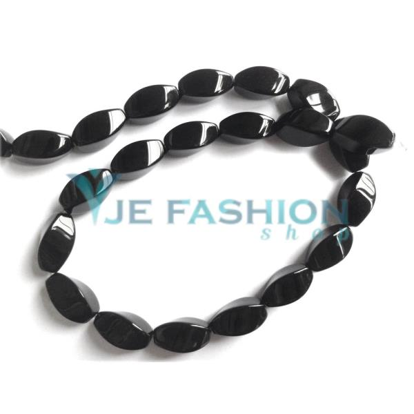 Back in stock:  http://www.jefashionshop.com/beads/agate-beads/agate-beads-black-color-twist-shape-16x8mm-jefs-bds-agt-00025 - by JE Fashion Shop, Coimbatore