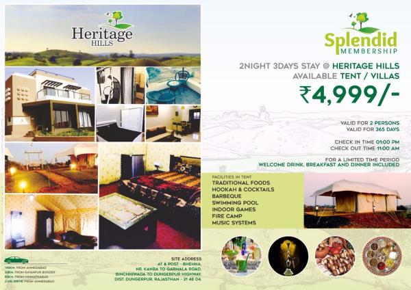 Most awaited annual deal launched by HERITAGE HILLS in the form of  SPLENDID MEMBERSHIP from today. We Team Heritage always known for excellent workmanship and fabulous service provider to you as well as your family.  SPLENDID ANNUAL MEMBER - by Sarvatra Infracon Pvt Ltd, Ahmedabad