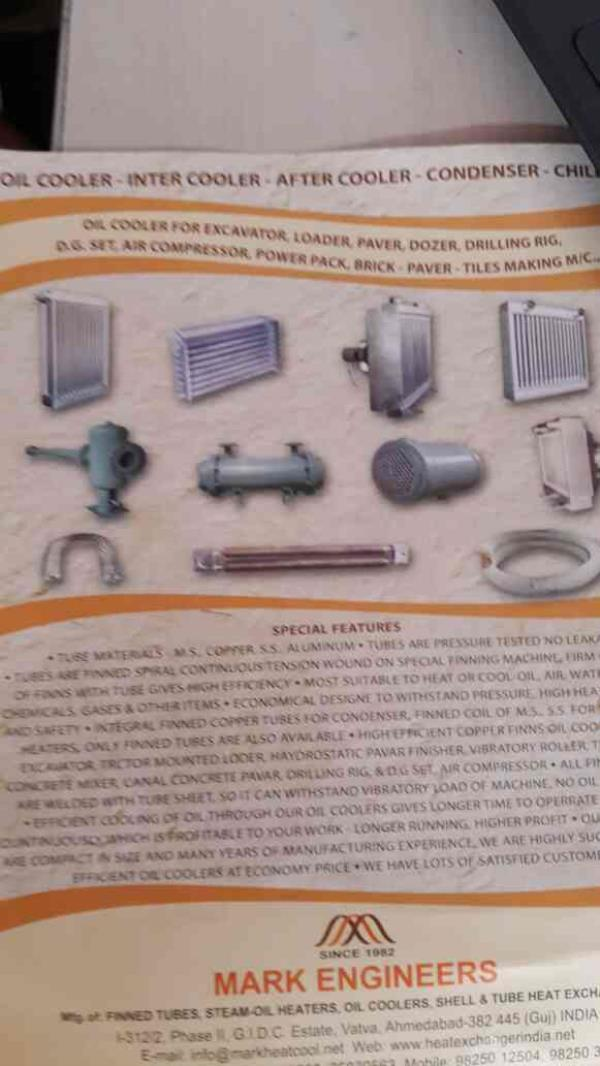 we are the leading manufacturers of Oil Coolers.. - by Mark Engineers, Ahmedabad