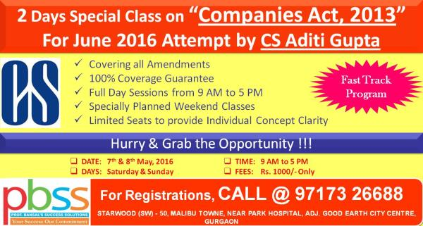 """Hurry Up & Grab the Opportunity for Special 2 Days Class on """"Companies Act, 2013"""" @ PBSS, Gurgaon. For quick Registrations, Call or Whatsapp @ 97173 26688. - by PBSS Commerce Coaching Gurgaon, Gurgaon"""