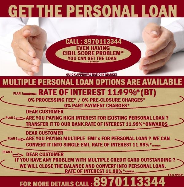 PERSONAL LOANS BAD CREDIT   if your credit score is less than 600 other organization is not entertaining such kind of cases but from here you will get the  Personal Loan. (T& C apply).                                                  http:/ - by Bookmypersonalloan.com, Bangalore