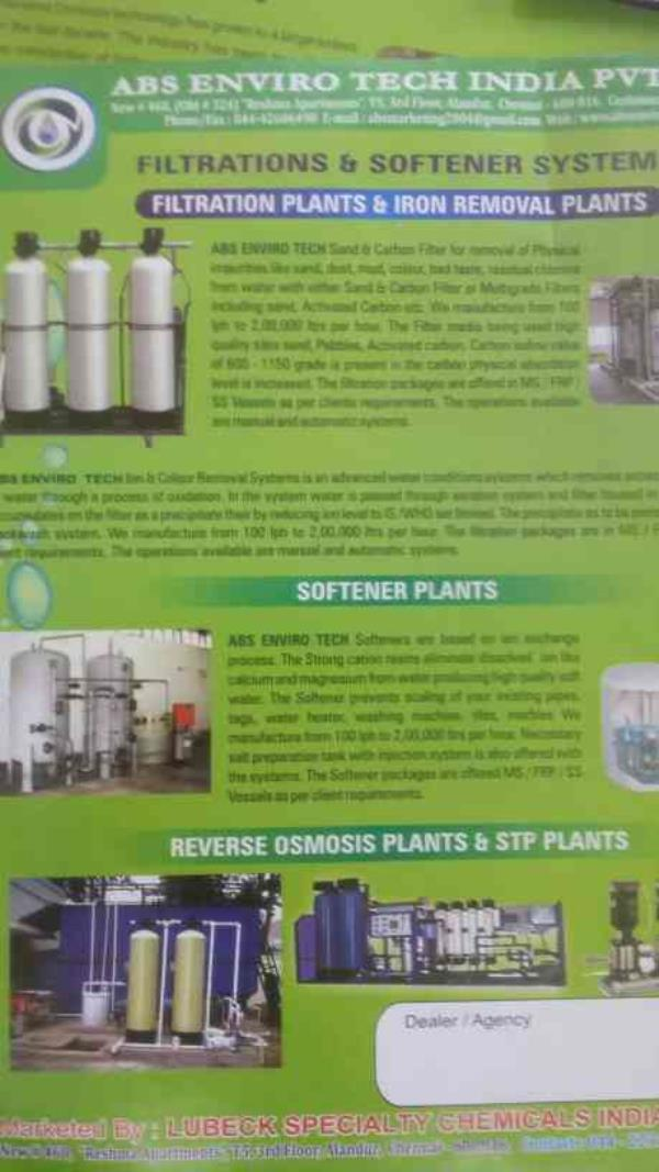 We the service provider of Reverse Osmosis Plants and STP Plants - by Absgroups, Chennai