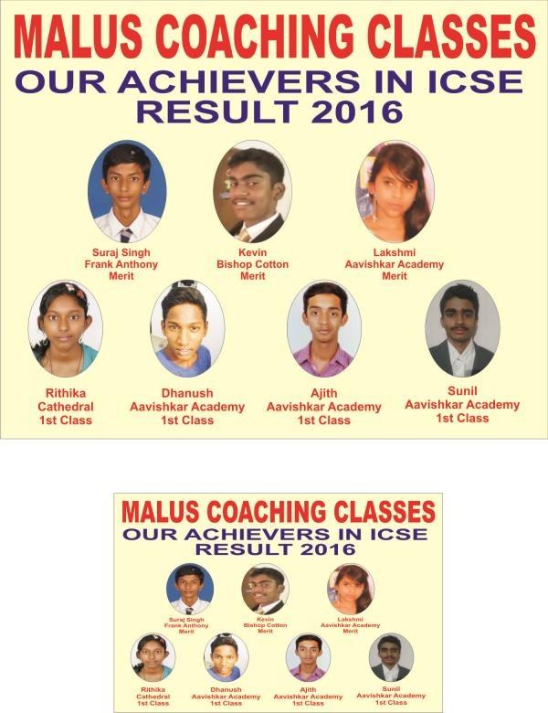 Our 10th icse result of 2016 - by Malus Coaching Classes, Bengaluru
