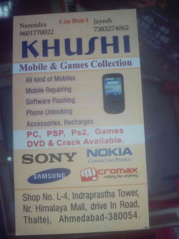 We deals in all kinds of mobile services - by Khushi Mobile, Ahmedabad