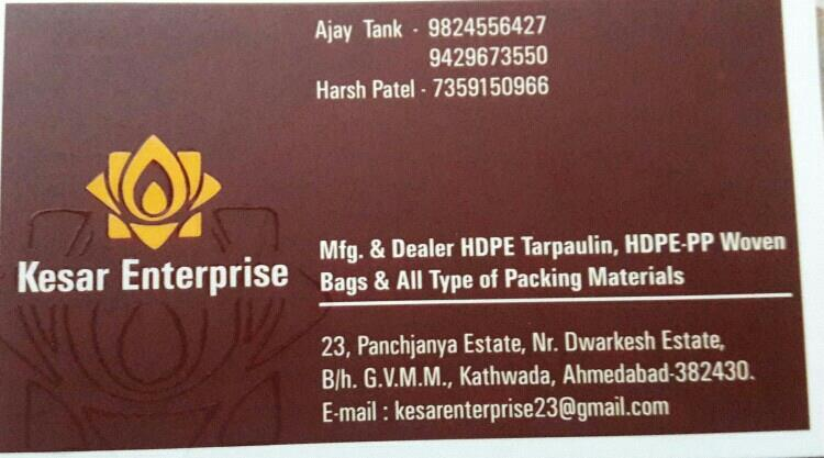 we believe in quality Tarpaulin materials and known for its durability in Indian and export market - by Kesar Enterprise, Ahmedabad