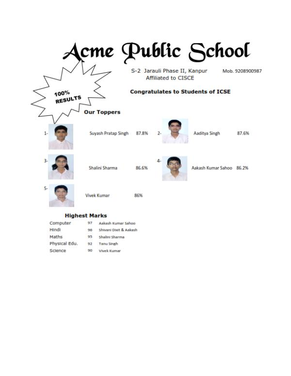 Congratulate all the students of Acme Public School Hurray!!!!!!!!!!!!!! - by Acme Public School, Kanpur