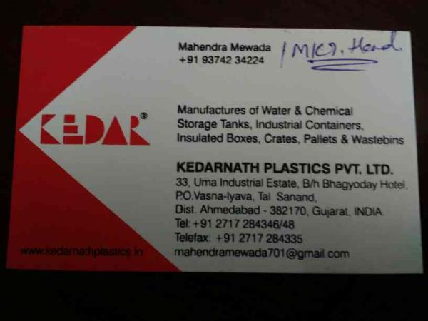Manufacturers of water & chemical storage Tanks, industrial Containers and wastebins, pallets, insulated boxes, crates & pallets etc... - by Kedarnath, Ahmedabad