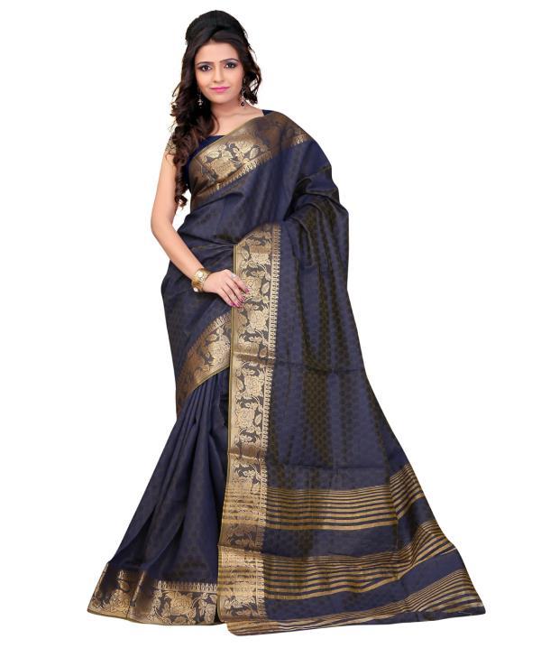 blue fancy stylish banarasi silk saree http://www.flipkart.com/search?q=indi+wardrobe& as=off& as-show=off& otracker=start - by Indi Wardrobe, Surat