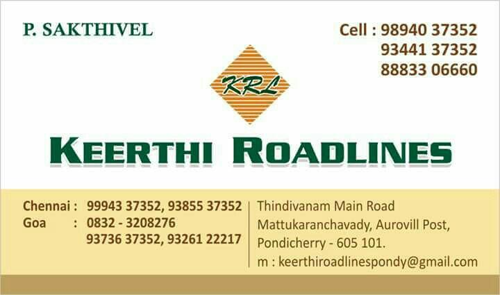 KEERTHIROADLINES Transport contractors and commotion agents - by KEERTHIROADLINES, Pattanur