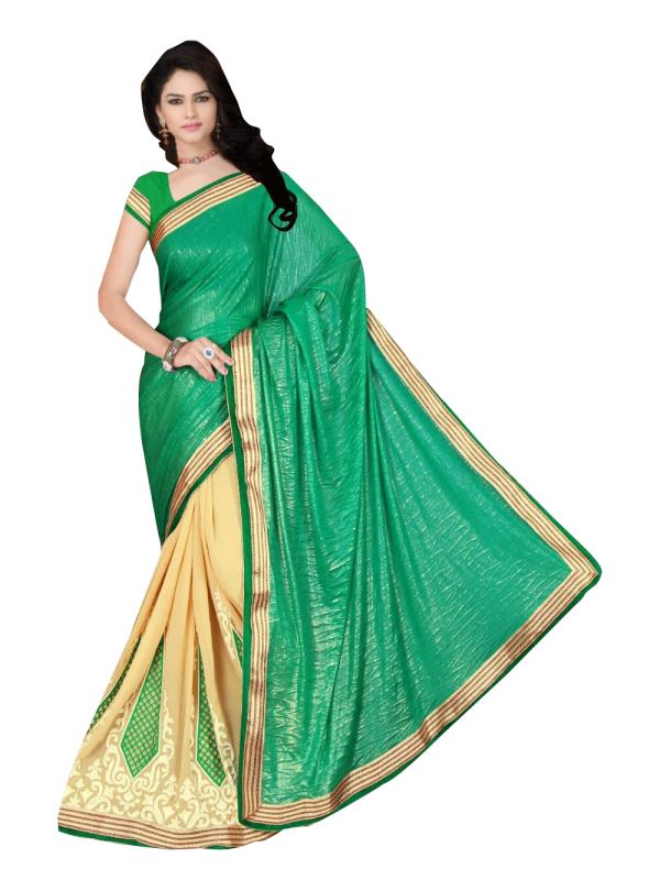 Fabric- Lycra khajoori Coating + Georgette   Blouse Fabric - Banglori Silk   Colour - Green + Beige   Size - Saree : 5.50Mtr, Blouse 0.80Mtr   Pattern - Embroidered   Style Type -  Designer   Precaution - Hand Wash Only   Shipping In- Ready - by Tiana Creation, Surat