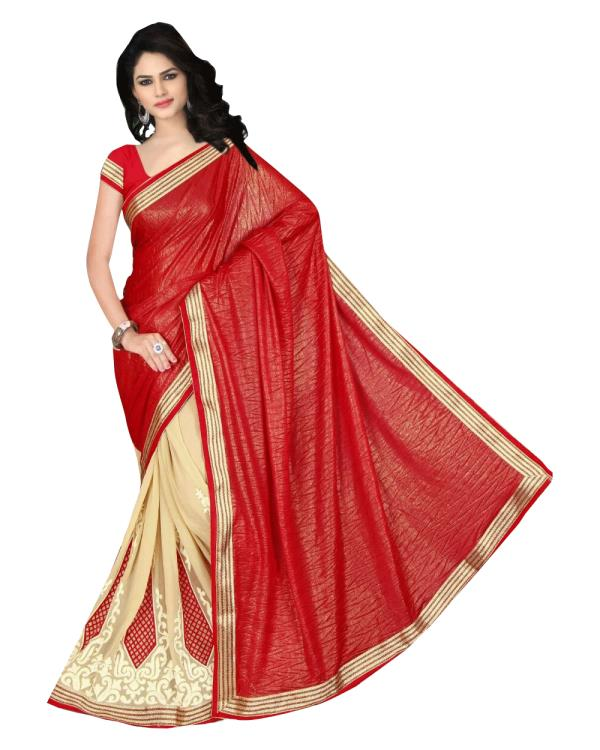 Fabric- Lycra khajoori Coating + Georgette   Blouse Fabric - Banglori Silk   Colour - Red + Beige   Size - Saree : 5.50Mtr, Blouse 0.80Mtr   Pattern - Embroidered   Style Type -  Designer   Precaution - Hand Wash Only   Shipping In- Ready t - by Tiana Creation, Surat