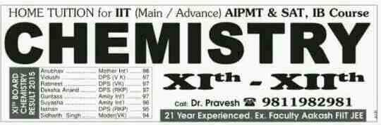 NEET, IIT JEE CHEMISTRY by Dr pravesh 9811982981 - by Chemistry Specialists, New Delhi