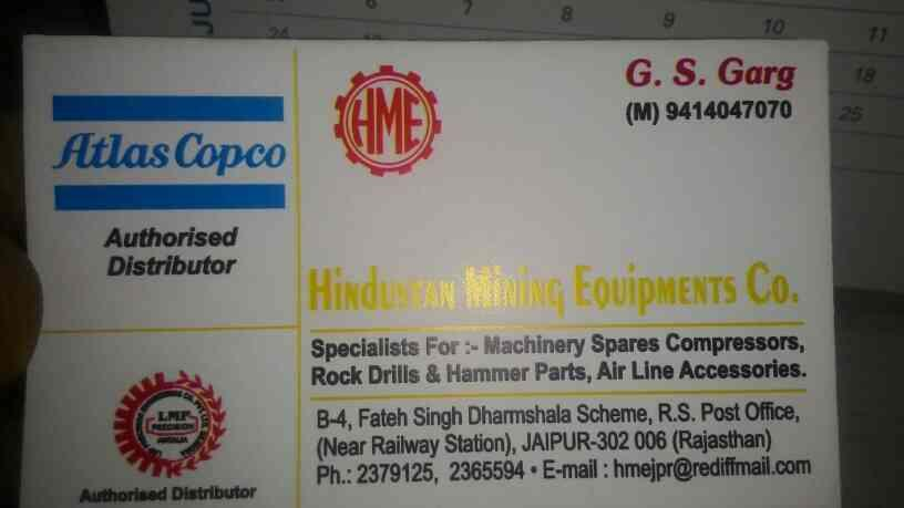 Hindustan Mining Equipment Co is a supplier of Rock Drills - by HINDUSTAN Mining Equipment CO, Jaipur