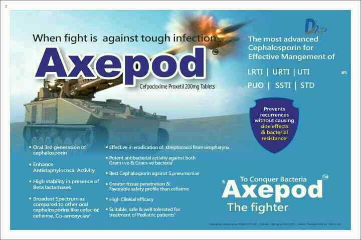 AXEPOD Cefodoxime proxetil 200mg tablet - by Dr Pearl Pharmaceuticals, Tiruchirappalli