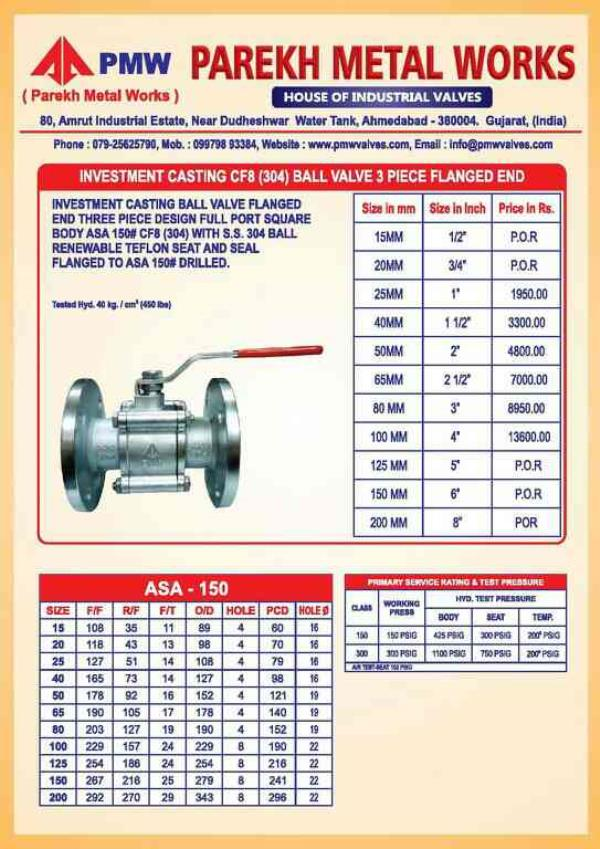 we are leding supplier if industrial valves .like ball valves. gate valveson ahmedabad. - by Parekh, Ahmedabad
